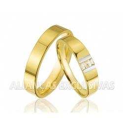 Aliança de Bodas com Diamantes em Ouro 18k - OV/3... - Ouro Vale Joias