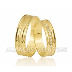 Alianças de Ouro Amarelo 10k com Diamantes - OV/41... - Ouro Vale Joias