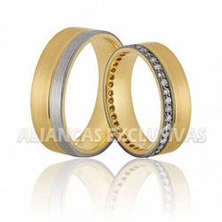 Aliança de Bodas com Diamantes em Ouro 18k - OV/2... - Ouro Vale Joias