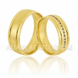 Aliança Anatômica com Diamantes em Ouro 18K - OV/... - Ouro Vale Joias