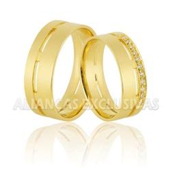 Aliança Exclusiva com Diamantes em Ouro 18k Anatôm... - Ouro Vale Joias