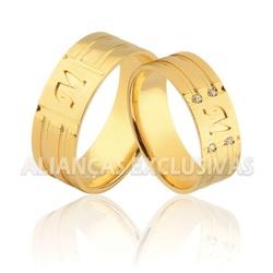Alianças com Iniciais e Diamantes e em Ouro 18k -... - Ouro Vale Joias