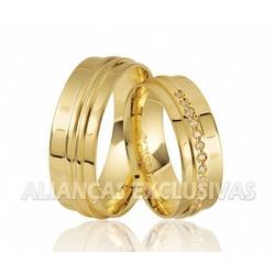 Aliança Anatômica Exclusiva com Diamantes - Ouro 1... - Ouro Vale Joias