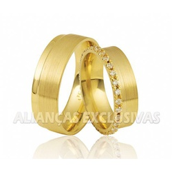 Aliança com Relevo de Diamantes em Ouro 18k - OV/... - Ouro Vale Joias