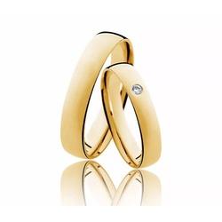 Aliança Diamante em Ouro 18k Meia Cana - OV/35 - Ouro Vale Joias
