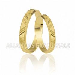 Aliança Diamantada e Trabalhado em Ouro 18K - OV/... - Ouro Vale Joias