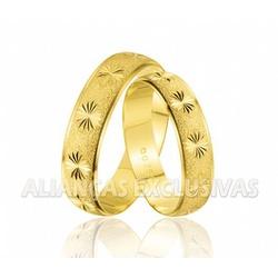 Aliança Diamantada em Ouro 18k Trabalhada - OV/193 - Ouro Vale Joias