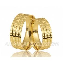 Aliança Quadriculada em Ouro 18k - OV/212 - Ouro Vale Joias