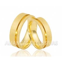 Alianças Escovadas em Ouro 18k Anatômicas - OV/485... - Ouro Vale Joias