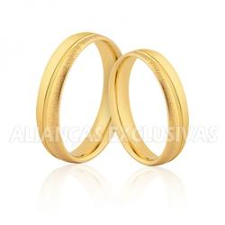 Aliança Fina Escovada em Ouro 10k - OV/478-10k - Ouro Vale Joias