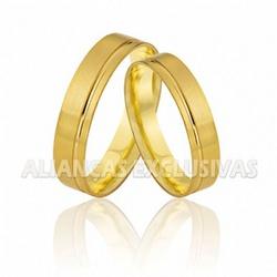 Aliança Reta com Friso em Ouro 18K - OV/476 - Ouro Vale Joias