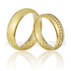 Alianças de Noivado e Casamento em Ouro 18K com Pe... - Ouro Vale Joias