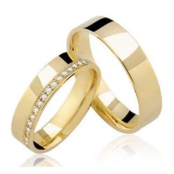 Alianças de Noivado e Casamento em Ouro 18K - IM/... - Ouro Vale Joias
