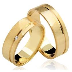 Aliança Reta com Diamante em Ouro 18K - OV/17 - Ouro Vale Joias