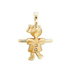 Pingente de Menina Ouro 18k com Diamante - OV/P939... - Ouro Vale Joias