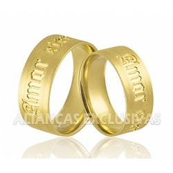 Aliança Personalizada em Ouro 18k - OV/725 - Ouro Vale Joias