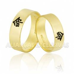 Alianças com Símbolo Esmaltado Ouro 18k - OV/786 - Ouro Vale Joias