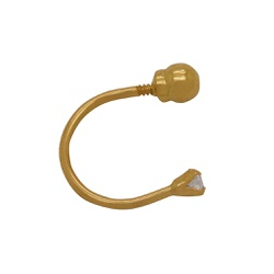 Piercing Curvado com Pedra Ouro 18k - OV/PIR11599- - Ouro Vale Joias