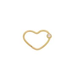 Piercing Coração em Ouro 18k - OV/PIR19146-1 - Ouro Vale Joias