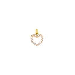 Pingente Coração com Zircônias em Ouro 18K - OV/P... - Ouro Vale Joias