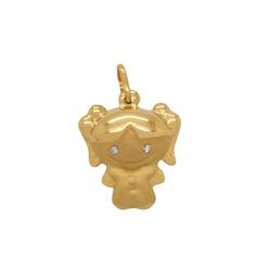 Pingente Oco de Menina em Ouro 18k - OV/P7896-1 - Ouro Vale Joias