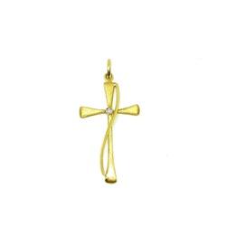 Pingente Cruz com Diamante em Ouro 18k - OV/P118 - Ouro Vale Joias