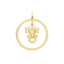 Pingente Menina Personalizado Ouro 18k - OV/P18 - Ouro Vale Joias