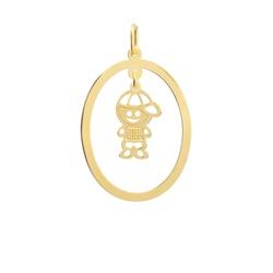 Pingente Menino Personalizado Ouro 18k - OV/P19 - Ouro Vale Joias