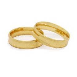 Aliança Noivado e Casamento em Ouro 18k Côncava - ... - Ouro Vale Joias