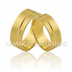Aliança Grossa e Reta com Friso em Ouro 18k - OV/... - Ouro Vale Joias