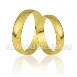 Par de Alianças Finas Tradicionais em Ouro 18k - ... - Ouro Vale Joias