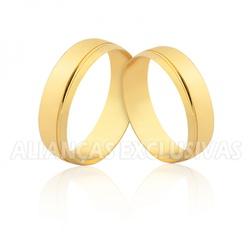 Aliança Reta com Friso em Ouro 18k - OV/1847 - Ouro Vale Joias