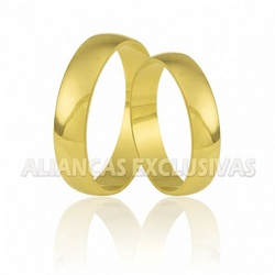 Par de Aliança Tradicional Ouro 18K - OV/19 - Ouro Vale Joias