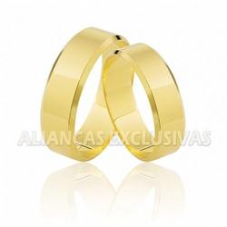 Aliança Chanfrada 6,0 mm Ouro 18K - OV/60 - Ouro Vale Joias