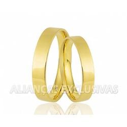 Aliança Fina em Ouro 18k Noivado e Casamento - OV/... - Ouro Vale Joias