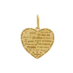 Pingente Coração Te Amo em Ouro 18k - OV/P13493 - Ouro Vale Joias