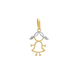 Pingente Menina Vazado em Ouro 18k - OV/P14555 - Ouro Vale Joias
