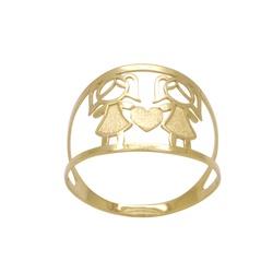 Anel Filhas Personalizado Ouro 18k - OV/ANA15468 - Ouro Vale Joias