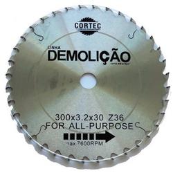 Disco de Serra Circular para Madeira Demolição 300 mm x 36 Dentes Cortec - Outlet do Marceneiro