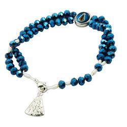 Terço Pulseira Cristal Azul Nossa Senhora Aparecid... - PALUDO ARTIGOS CATÓLICOS