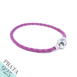 Pulseira Bracelte de Couro Trançado Prata 925 Rosa... - Kumbayá Joias