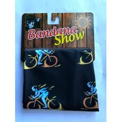 Bandana Show Preto Bike Laranja e Azul - 4283 - PEDAL PRÓ Bike Shop