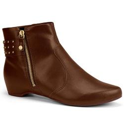 Bota Cano Curto Confortável - Brown - CAL7173-0002BR - Pé Relax Sapatos Confortáveis