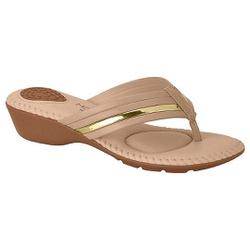 Chinelo Feminino para Esporão - Bege / Dourado - MO7017-453BG - Pé Relax Sapatos Confortáveis