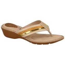 Chinelo Feminino para Esporão - Bege / Dourado / Amarelo - MO7017-453BDA - Pé Relax Sapatos Confortáveis