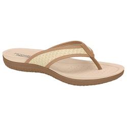 Chinelo para Esporão e Fascite - Camel / Trama Palha - MO7125-223TP - Pé Relax Sapatos Confortáveis