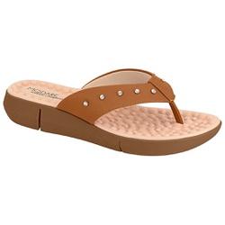 Chinelo Feminino para Esporão c/ Massageador - Camel - MO7142-117CA - Pé Relax Sapatos Confortáveis