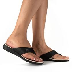 Chinelo Feminino para Fascite Plantar e Esporão - Preto - CAL6812PT - Pé Relax Sapatos Confortáveis