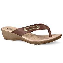 Chinelo Feminino para Esporão e Fascite Plantar - Brown - CAL7082-0009BW - Pé Relax Sapatos Confortáveis