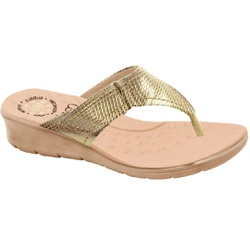 Chinelo para Esporão e Fascite - Cobra Metal Light Gold - MA10007NPLG - Pé Relax Sapatos Confortáveis